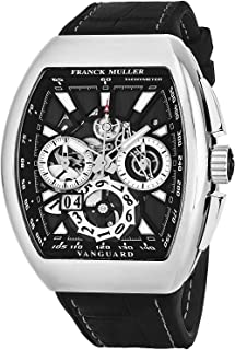Franck Muller Vanguard Grande Date Mens Automatic Chronograph Watch - Tonneau Stainless Steel Skeleton Face with Luminous ...