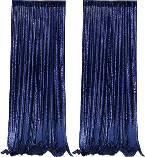JYFLZQ Vorhang mit Pailletten, marineblau, 70 x 220 cm, 2 Paneele, glitzernde Fotohintergründe, für Geburtstag, Hochzeit, Party