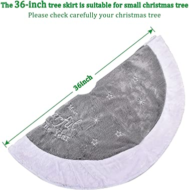 Christmas Tree Skirt , 36 inches Plush Embroidered Tree Skirt, Rustic Xmas Tree Holiday Decorations, Classic Grey for Xmas Ho