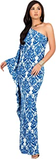 KOH KOH Womens Long One Shoulder Summer Flowy Cocktail Evening Gown Maxi Dress