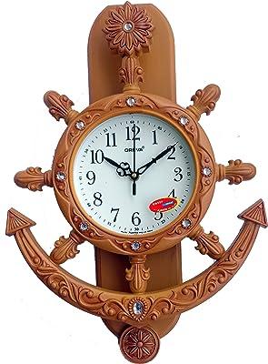 Oreva Plastic Pendulum Wall Clock (42.5 cm x 30.5 cm x 7.0 cm, Natural Wood, AQ-2327)