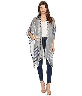 Bay Stripe Yarn-Dye Ruana Wrap