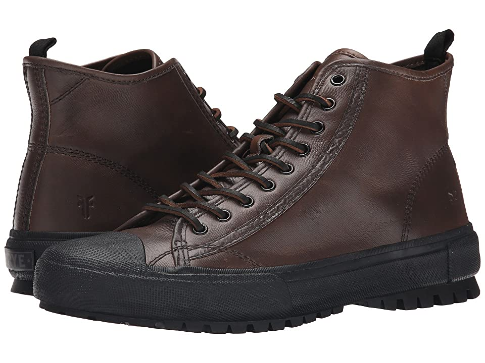 Frye Ryan Lug Mid Lace (Grey WP Textured Smooth Pull Up) Men