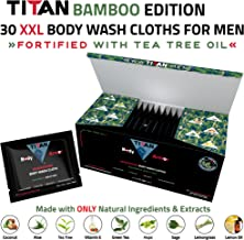 "Titan Deodorizing Body Wash Cloths, 100% Bamboo Edition, 12""x12"", 30 Extra Large & Thick Individually Packaged Wipes, Fortified with Tea Tree Oil, Rinse Free Wipes for Hands, Face, Body and Manhood"