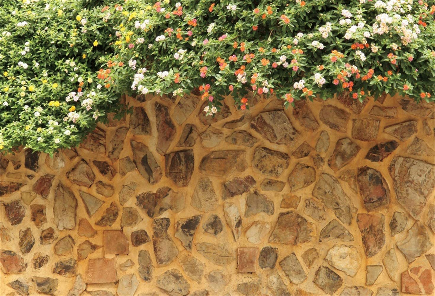Leowefowa 12x8ft Spring Garden Rustic Stone Wall Blooming Florets/Backdrop Vinyl Photography Background Nature Landscape Child Adult Photo Shoot Event Activities Photo Booth Party Decor Wallpaper