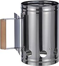 Bambelaa! - Encendedor de carbón para barbacoa con mango de madera, columna de combustión, encendedor para chimenea, color plata/negro, aprox. 17 x 27 x 27 cm, plata