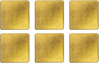 Argon Tableware Coasters Set - Square Metallic Drink Coaster Mats - 100mm - Gold - Pack of 6