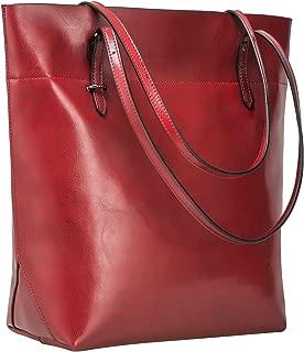S-ZONE Vintage Genuine Leather Tote Shoulder Bag Handbag Big Large Capacity Upgraded 2.0