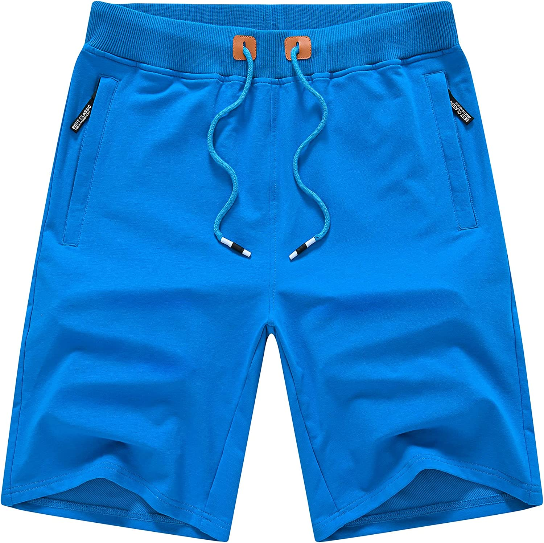 YuKaiChen Men's Shorts Casual Drawstring Classic Fit Gym Workout Shorts with Zipper Pockets