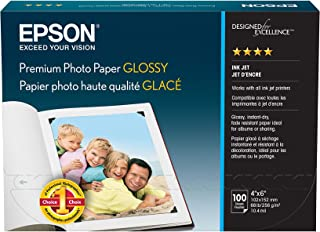 Epson S041727 Premium Photo Paper, 68 lbs., High-Gloss, 4 x 6 (Pack of 100 Sheets)