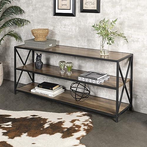 Walker Edison Furniture Company 2 Shelf Industrial Wood Metal Bookcase Bookshelf Storage, 60 Inch, Brown Reclaimed Ba...