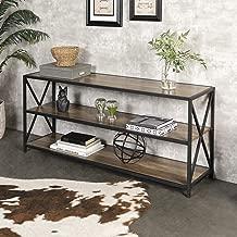 WE Furniture AZS60XMWRO 2 Shelf Industrial Wood Metal Bookcase Bookshelf Storage, 60 Inch, Brown Reclaimed Barnwood