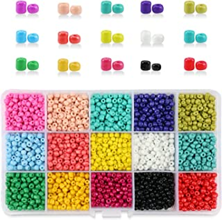 PHOGARY 9000pcs Glass Seed Beads, Mixed Colors Small Pony Beads Assorted Kit Opaque Colors Lustered Loose Spacer Beads, 3mm Round, Hole 1.0mm for Jewelry Making, DIY Crafting (15 Colors)