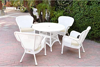 Set of 5 White Wicker Dining Set with Faux Wood Top and Ivory Cushions 44.5''