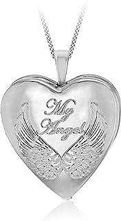 Tuscany Silver 女式 925 纯银镀铑 19.5 mm 心形 My Angel Locket 吊坠 25PG Panza Curb 长度为 46 cm/18 英寸
