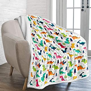 WONGS BEDDING Kids DinosaurThrow Blanket Jurassic Dinosaur Printed Fleece Blanket Warm Reversible Cartoon Sherpa Blanket for Kids Adults Fuzzy Plush Microfiber Solid Blanket for Bed and Couch 50