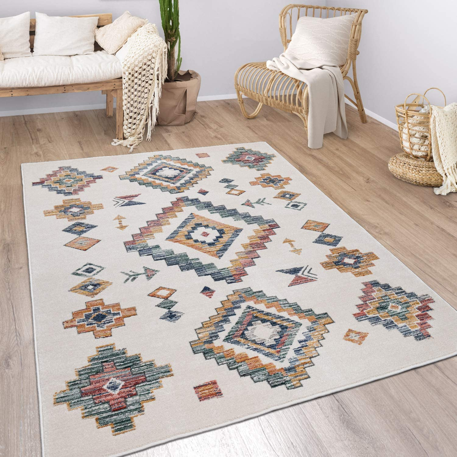 Modern Rug Ethnic Attention brand Year-end gift Design with Colorful Si Cream in Boho Pattern