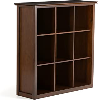 Simpli Home AXCHOL011 Artisan Solid Wood 45 inch x 43 inch Contemporary 9 Cube Bookcase and Storage Unit in Medium Auburn Brown