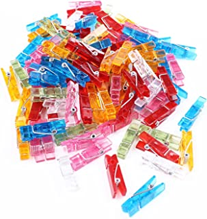 "BIHRTC 100pcs 1.4"" Mini Colorful Clear Plastic Utility Paper Clip Clothespins Clip Clothes Line Clips Photo Clips"
