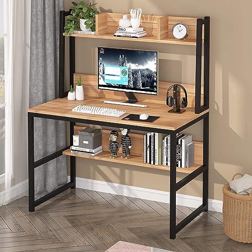 Tribesigns Schreibentische aus Holz,einfach Büchmöbel mit Stauraum,computertische für Arbeitszimmer