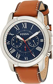 Fossil Grant Men's Blue Dial Leather Band Watch - FS5210