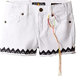 Riley Stretch Denim Shorts with Embroidery (Toddler)