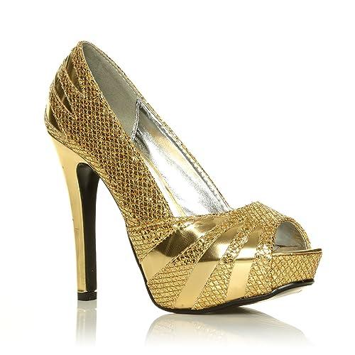 ec4260adb3 CORE COLLECTION Womens Ladies HIGH Stiletto Heel Glitter Platform PEEP Toe  Party Shoes Size 3-