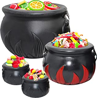 The Twiddlers 4 Pcs Halloween Cauldrons Bucket With Handles | Cauldron Trick Or Treat Bucket | Cauldron Plastic bucket | Witches Cauldron Candy Bucket Chocolate Coins Halloween Party Favor