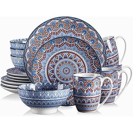 vancasso, Série Mandala, Service de Table en Porcelaine 16 pièces pour 4 Personnes, Assiette Plate, Assiette à Dessert, Bols - Style Bohémien