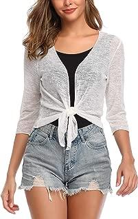 Aranmei Women 3/4 Sleeve Tie Front Shrug Sheer Cropped Bolero Cardigan