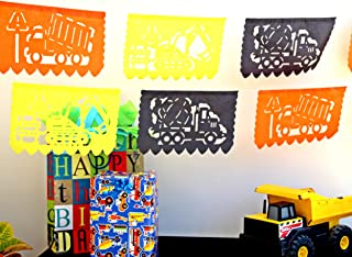 Construction birthday party supplies, 5pk Dump truck banners for boys construction theme party, 50 panels Over 60 feet long, Colors are Orange, Black and Yellow, Construction Party Decorations Tissue Paper Garlands
