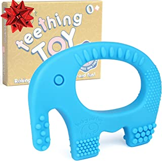 Baby Teething Ring - BPA Free Silicone Chew Toys For Boys - Cute, Easy To Hold, Soft And Highly Effective Elephant Teether Toy Teethers Rings For Babies Freezer, Best Christmas Gifts Stocking Stuffers