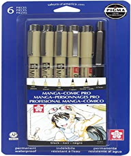 Sakura 50201 Pigma Manga Comic Pro Kit para dibujo 6 unidades