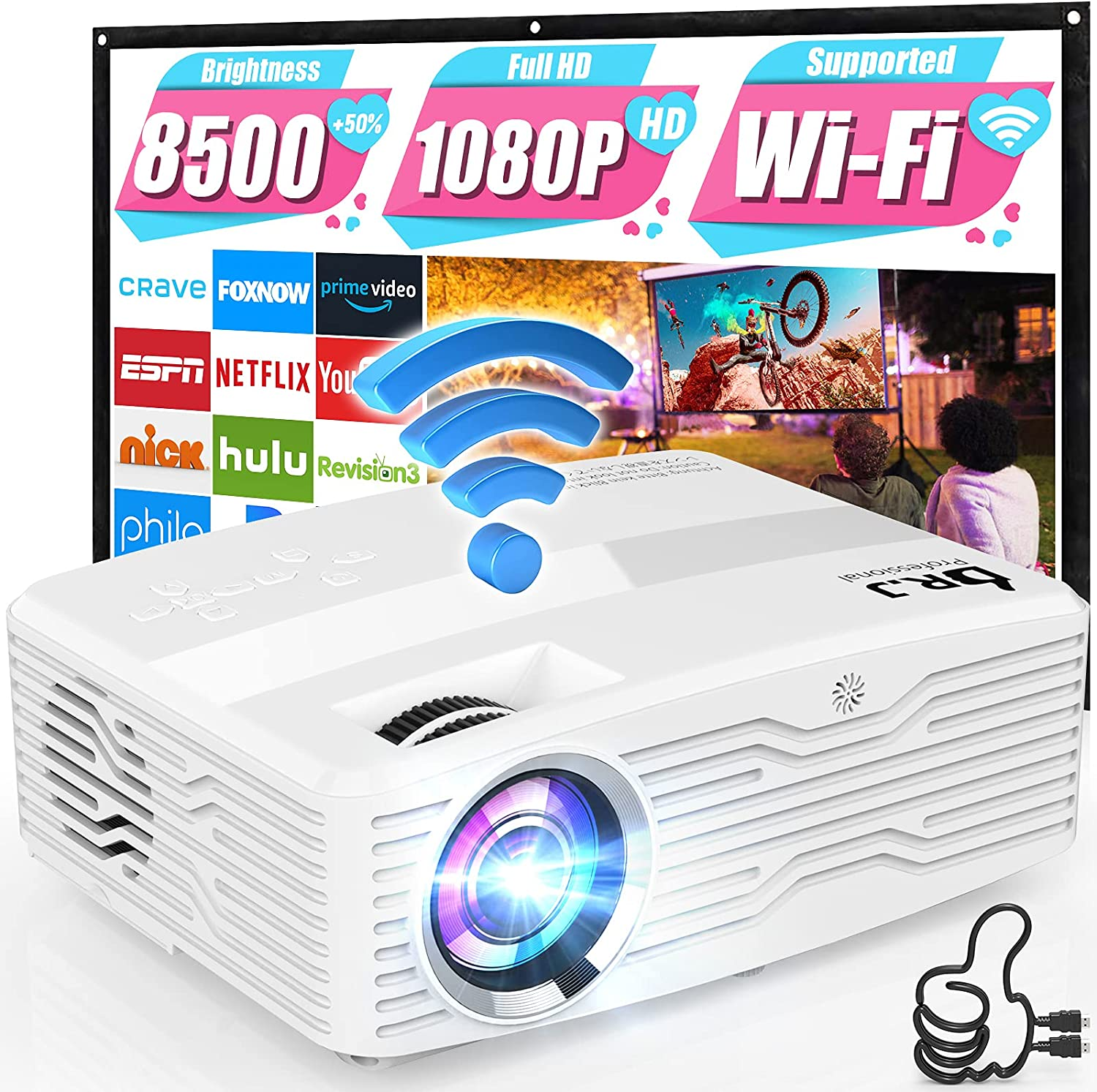 5G WiFi 4K Projector, 8500Lumens Native 1080P Full HD Projector LCD Projector for Outdoor Movies, Wireless Mirroring/4K/Smartphone/TV Stick/HDMI/USB Supported [120
