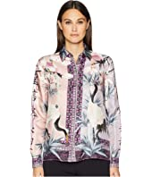 Versace Collection - Shirts - Rosa + Stampa Button Up Blouse
