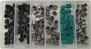 Sherco-Auto 120 Piece TPMS Tire Valve Stem Cap Assortment Kit - Black Chrome Grey Green & Nitrogen ID Dust Covers