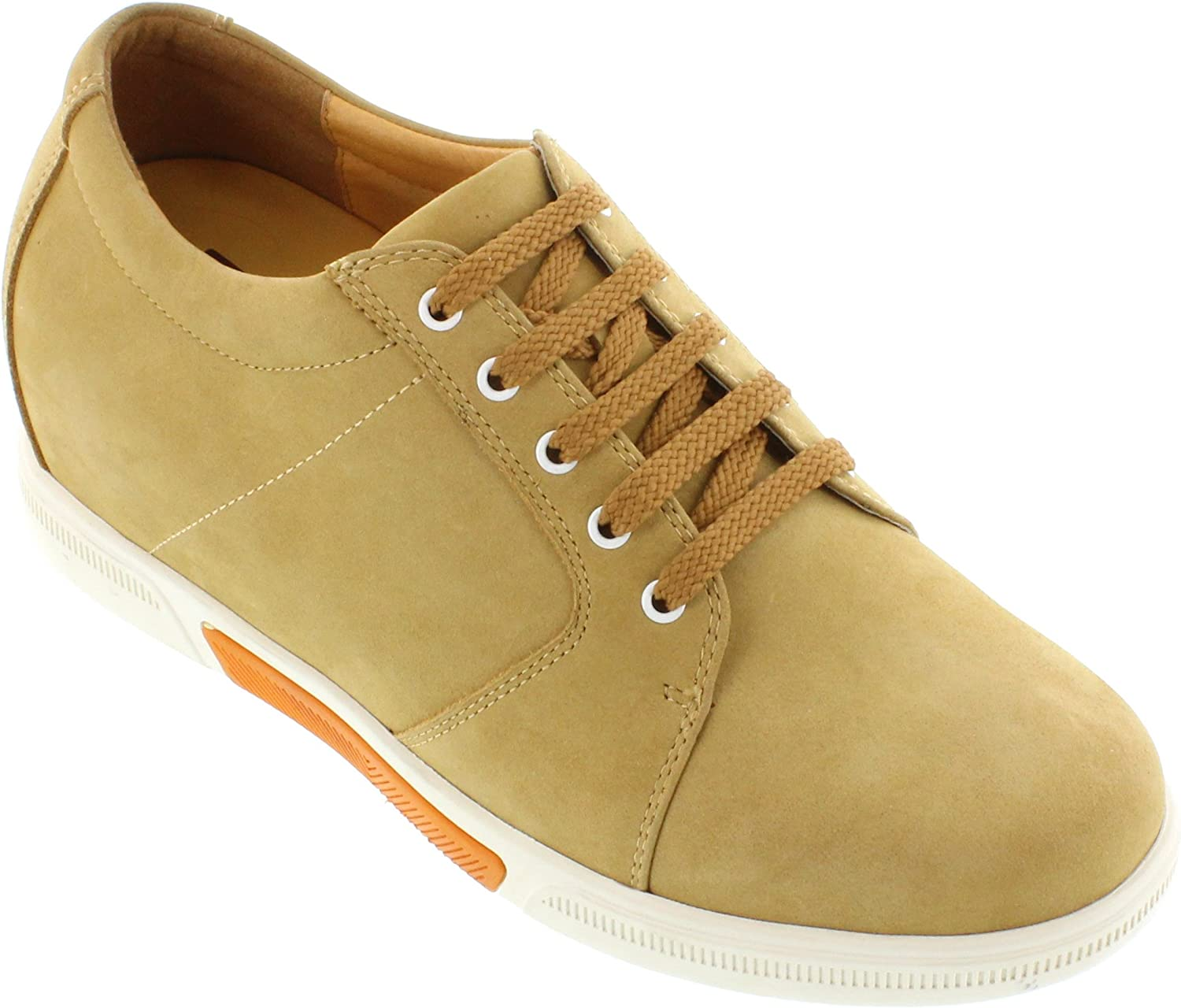 Toto Men's Invisible Height Increasing Elevator shoes - Camel Brown Nubuck Leather Lace-up Casual Fashion Sneakers - 3 Inches Taller - H7083