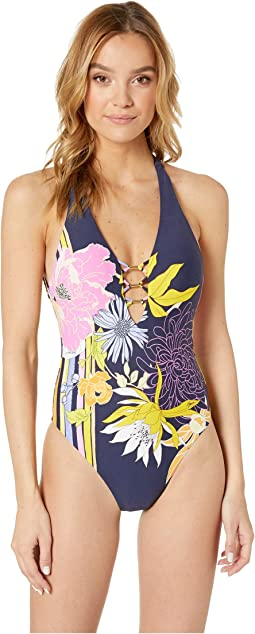 5761054fab18a Bal Harbour Floral V-Plunge One-Piece Swimsuit