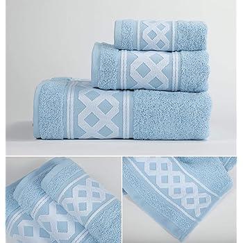 Cenefa Turca Juego de Toalla 3 Piezas 100/% Algod/ón de 500 Gramos Hogar Energy Colors Textil Azul
