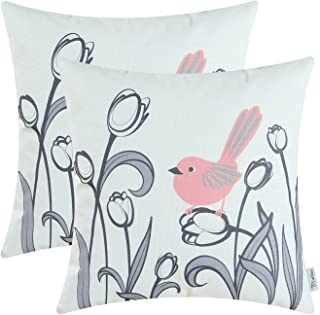 CaliTime Pack of 2 Soft Canvas Throw Pillow Covers Cases for Girls Couch Sofa Hand Drawing Cute Bird with Gray Sweet Tulip Floral Print 18 X 18 Inches Candy Pink