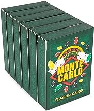 Brybelly 6-pack of Monte Carlo Poker Decks | Premium Linen Finish Playing Cards, Standard Index, Poker Size | Casino Quality Plastic-Coated Craft 310gsm Black Core Cardstock | Premium, Bulk Card Decks