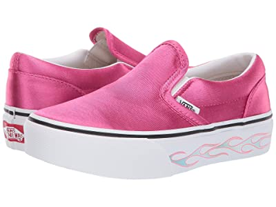 Vans Kids Classic Slip-On Platform (Little Kid/Big Kid) ((Sidewall Flame) Carmine Rose) Girls Shoes