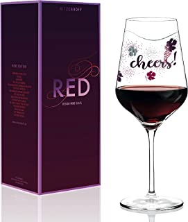 Ritzenhoff Red Wine Glass by Lenka Crystal Glass Kühnertová, 20-1/4oz, Includes Beautiful Platinum Throw