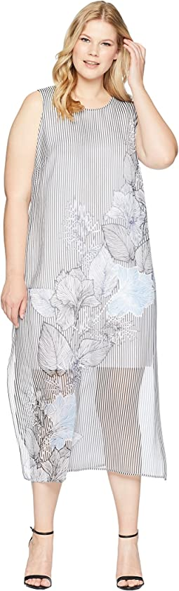 Plus Size Sleeveless Island Floral Chiffon Overlay Maxi Dress