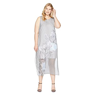 Vince Camuto Specialty Size Plus Size Sleeveless Island Floral Chiffon Overlay Maxi Dress (Rich Black) Women