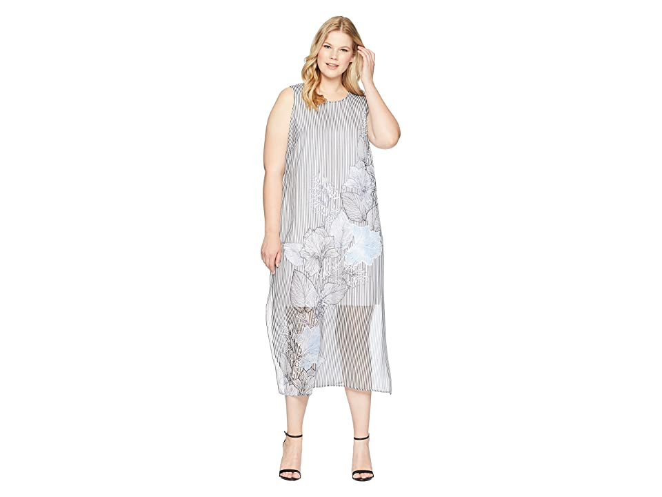 8b1af9334e Vince Camuto Specialty Size Plus Size Sleeveless Island Floral Chiffon  Overlay Maxi Dress (Rich Black