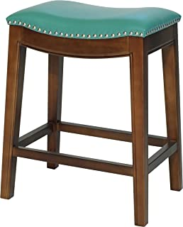 New Pacific Direct Elmo Bonded Leather Counter Stool, Turquoise