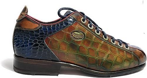 Harris zapatos de Cordones de Piel para Hombre Cuoio azul Lino