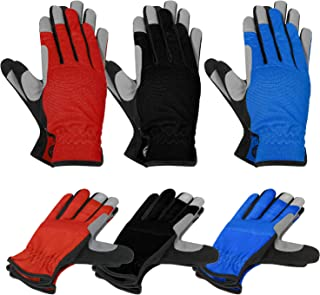 MOREOK Work Gloves Gardening Gloves Touch screen,Synthetic Leather Utility Gloves Light Duty Work Gloves- Padded Knuckles & Palm-3Pairs-Large
