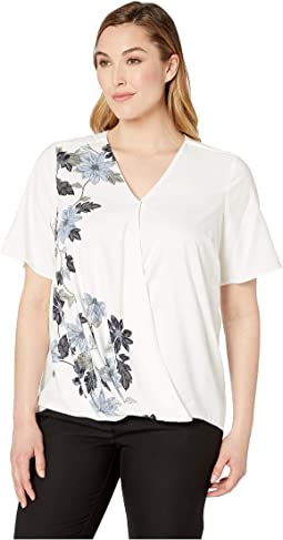 Plus Size Short Sleeve Floral Vines Front Wrap Blouse